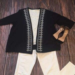 CJ Banks Black Cardigan With White Embroidery